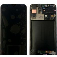 Дисплей в рамке для Samsung A30s черный оригинал новый